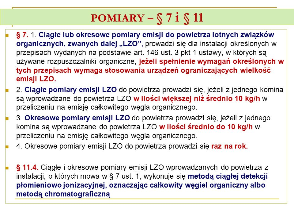 POMIARY – § 7 i § 11