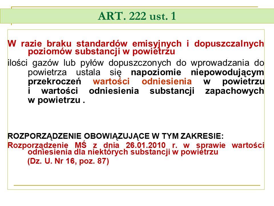 ART. 222 ust. 1 W razie braku standardów emisyjnych i dopuszczalnych poziomów substancji w powietrzu.