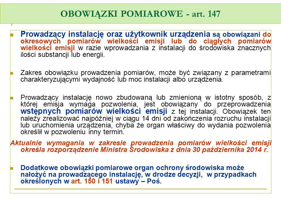 OBOWIĄZKI POMIAROWE - art. 147