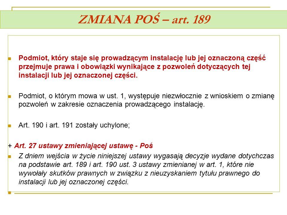 ZMIANA POŚ – art. 189