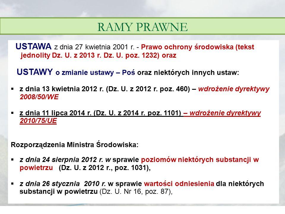 RAMY PRAWNE USTAWA z dnia 27 kwietnia 2001 r. - Prawo ochrony środowiska (tekst jednolity Dz. U. z 2013 r. Dz. U. poz. 1232) oraz.