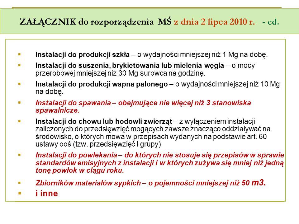 ZAŁĄCZNIK do rozporządzenia MŚ z dnia 2 lipca 2010 r. - cd.