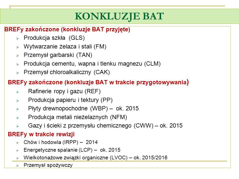 KONKLUZJE BAT BREFy zakończone (konkluzje BAT przyjęte)
