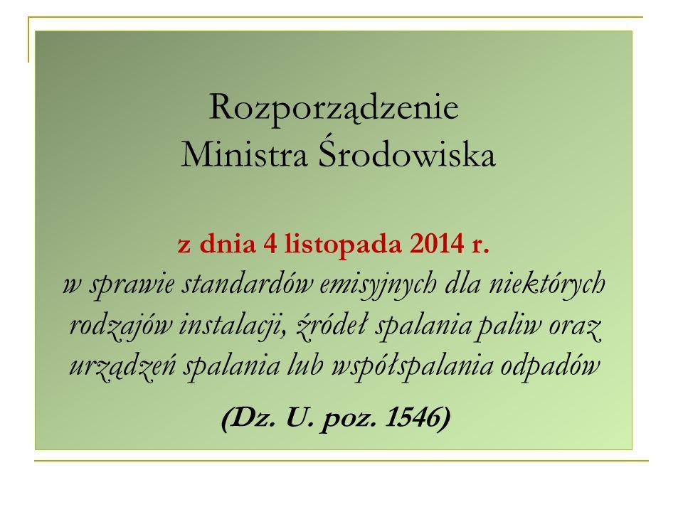 Rozporządzenie Ministra Środowiska z dnia 4 listopada 2014 r