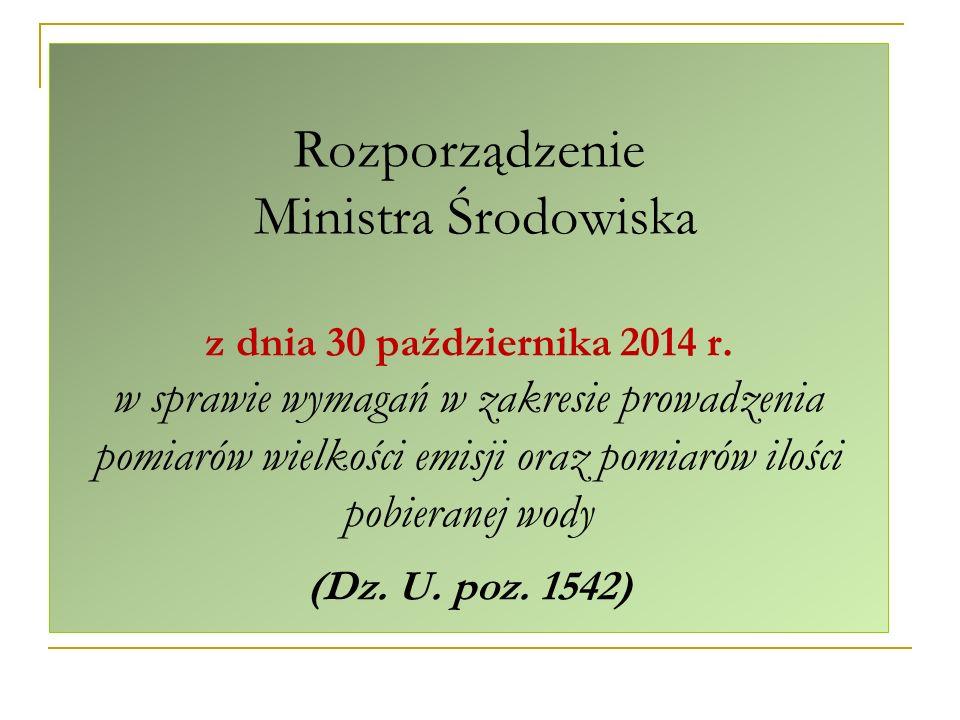 Rozporządzenie Ministra Środowiska z dnia 30 października 2014 r