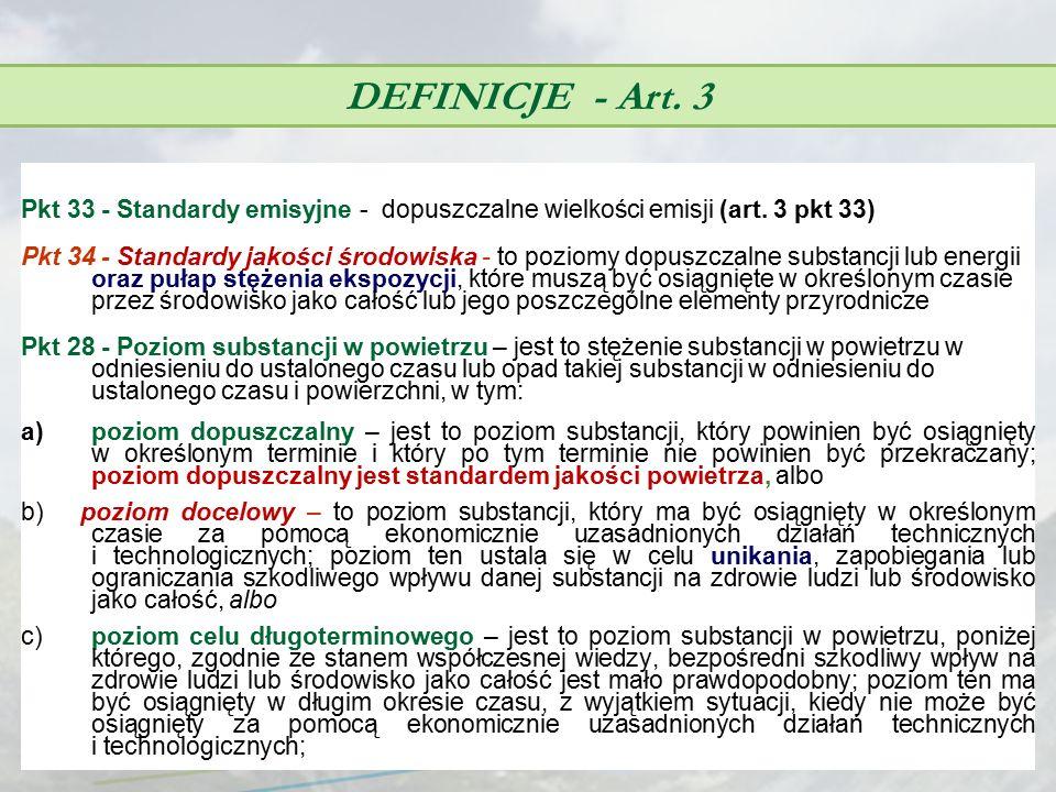 DEFINICJE - Art. 3 Pkt 33 - Standardy emisyjne - dopuszczalne wielkości emisji (art. 3 pkt 33)