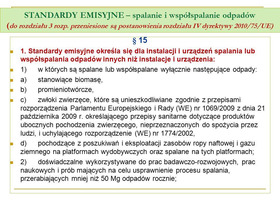 STANDARDY EMISYJNE – spalanie i współspalanie odpadów (do rozdziału 3 rozp. przeniesione są postanowienia rozdziału IV dyrektywy 2010/75/UE)