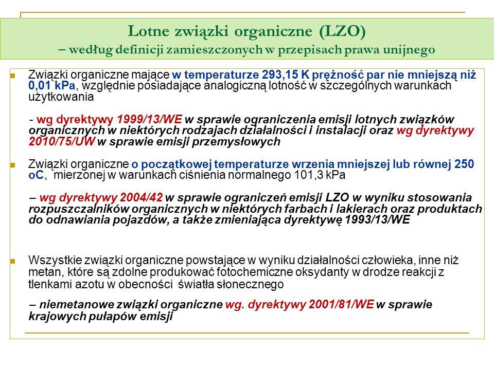 Lotne związki organiczne (LZO) – według definicji zamieszczonych w przepisach prawa unijnego