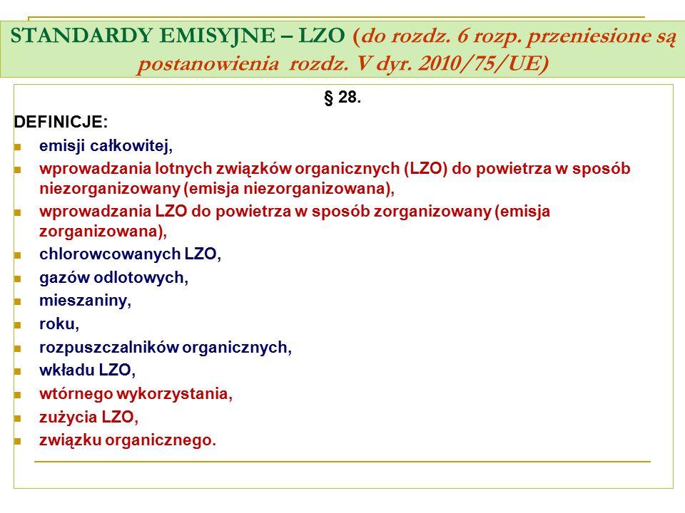 STANDARDY EMISYJNE – LZO (do rozdz. 6 rozp