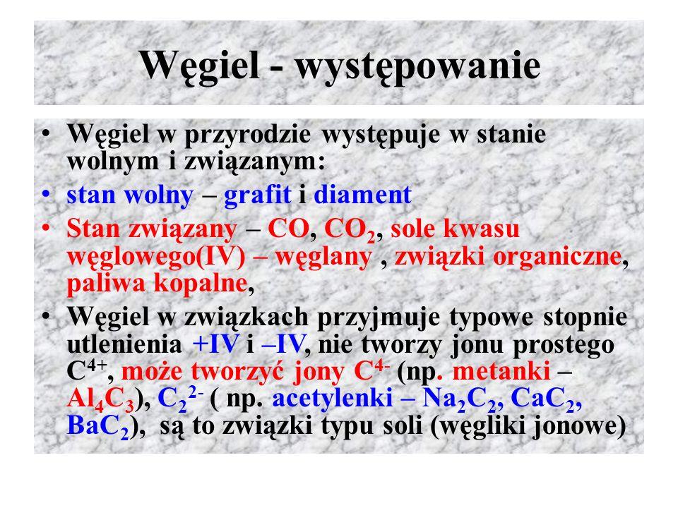 Węgiel - występowanie Węgiel w przyrodzie występuje w stanie wolnym i związanym: stan wolny – grafit i diament.