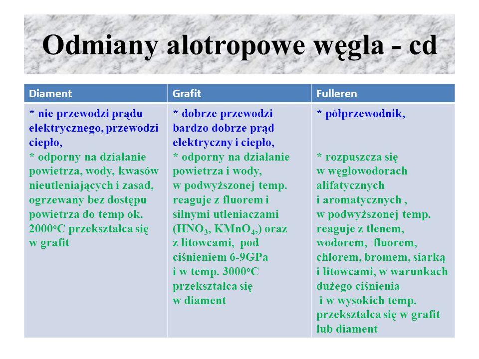 Odmiany alotropowe węgla - cd