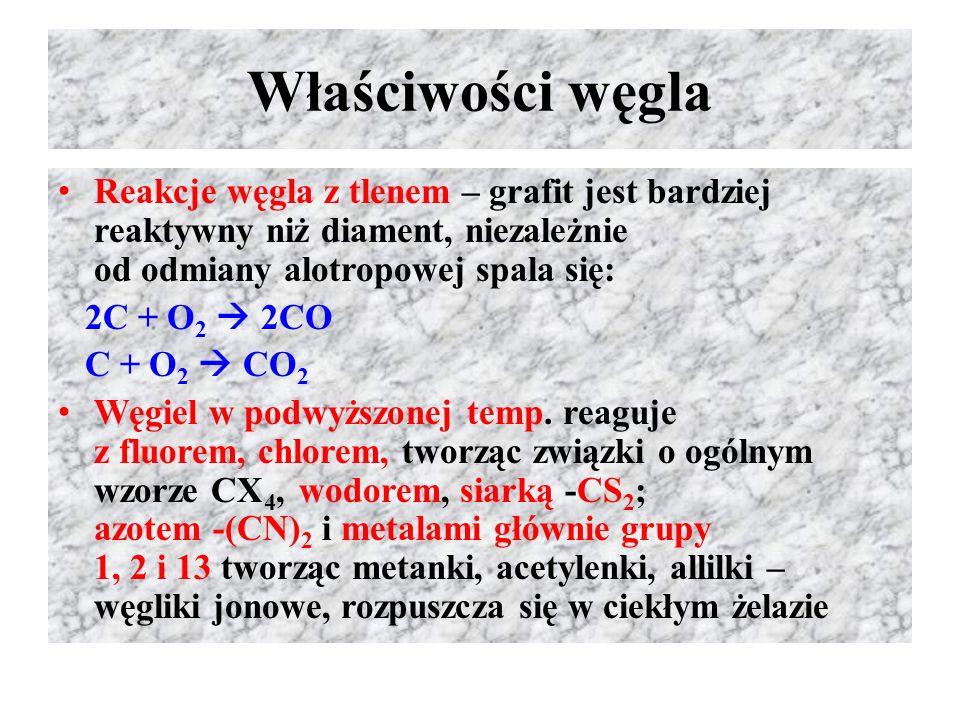 Właściwości węgla Reakcje węgla z tlenem – grafit jest bardziej reaktywny niż diament, niezależnie od odmiany alotropowej spala się:
