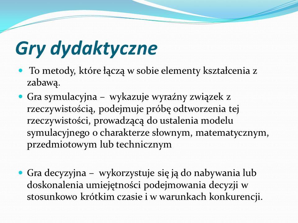Gry dydaktyczne To metody, które łączą w sobie elementy kształcenia z zabawą.