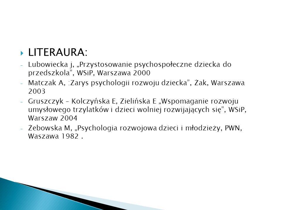 """LITERAURA: Lubowiecka j, """"Przystosowanie psychospołeczne dziecka do przedszkola , WSiP, Warszawa 2000."""
