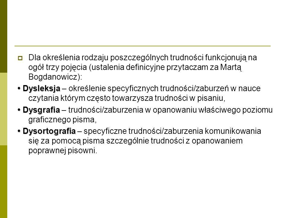 Dla określenia rodzaju poszczególnych trudności funkcjonują na ogół trzy pojęcia (ustalenia definicyjne przytaczam za Martą Bogdanowicz):