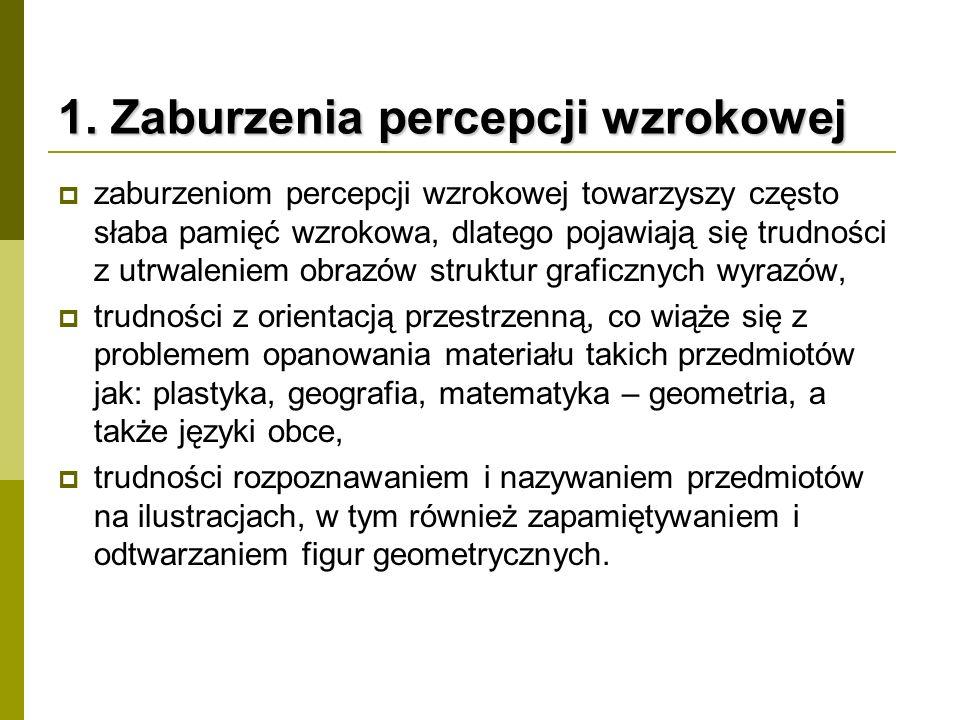 1. Zaburzenia percepcji wzrokowej