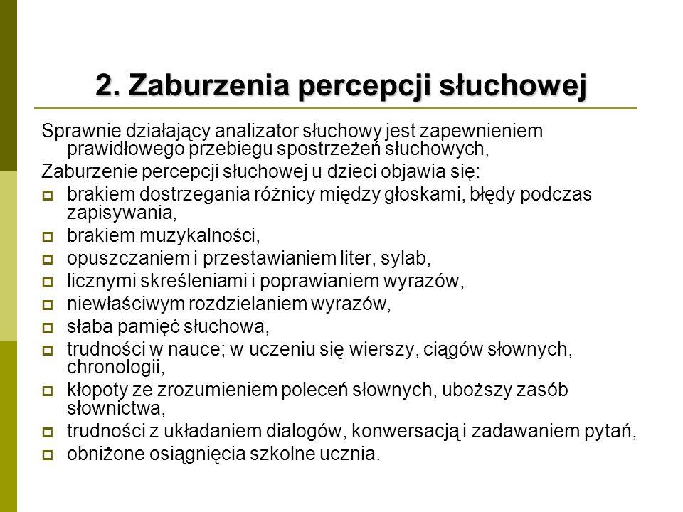 2. Zaburzenia percepcji słuchowej