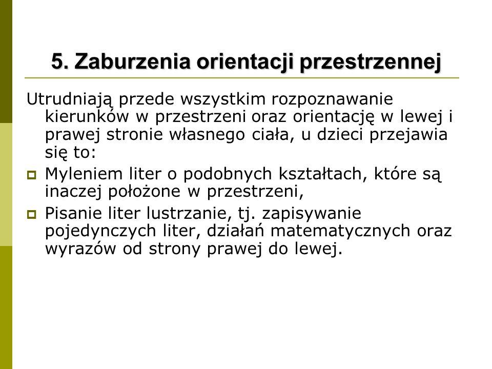 5. Zaburzenia orientacji przestrzennej
