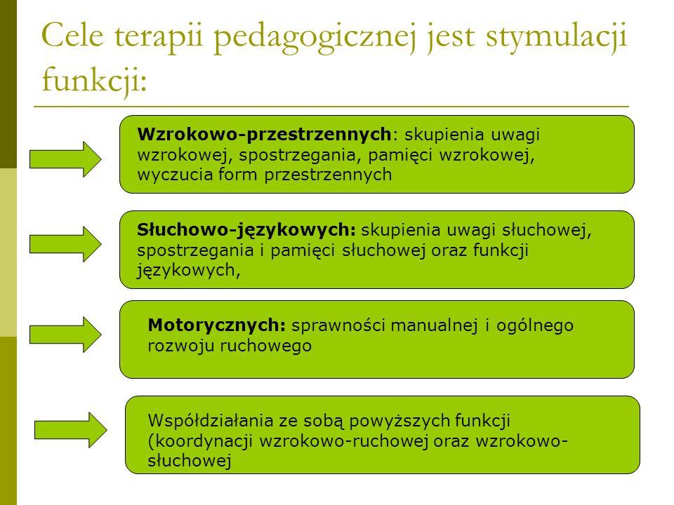 Cele terapii pedagogicznej jest stymulacji funkcji: