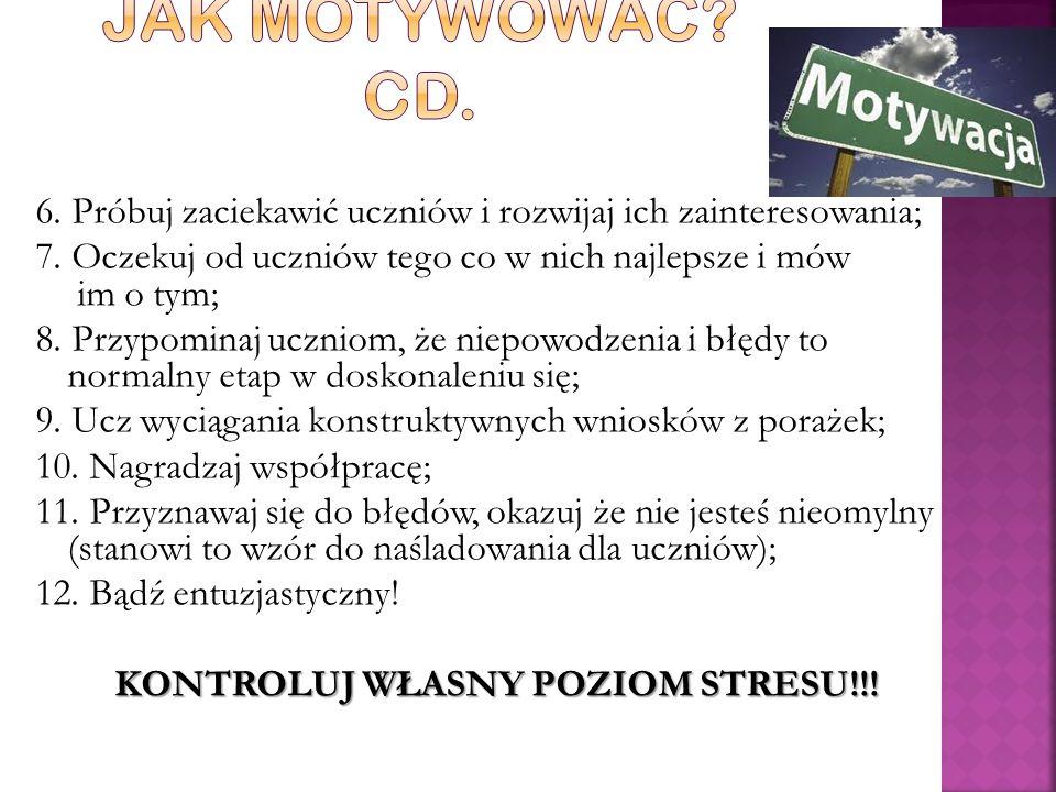 KONTROLUJ WŁASNY POZIOM STRESU!!!