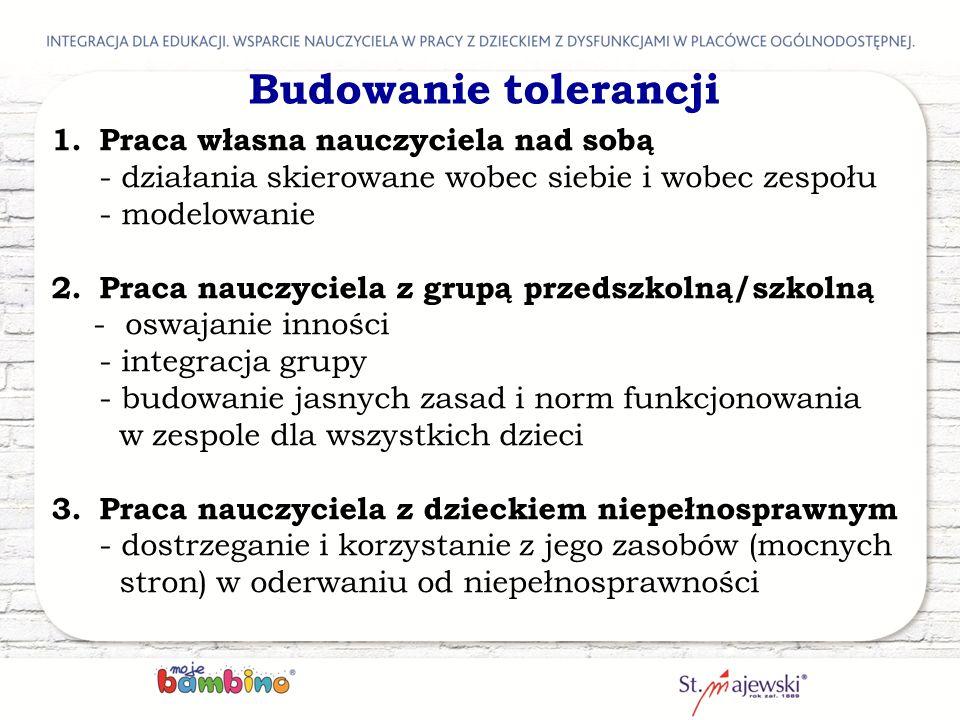 Budowanie tolerancji Praca własna nauczyciela nad sobą - działania skierowane wobec siebie i wobec zespołu - modelowanie.