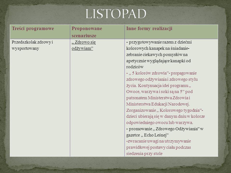 LISTOPAD Treści programowe Proponowane scenariusze