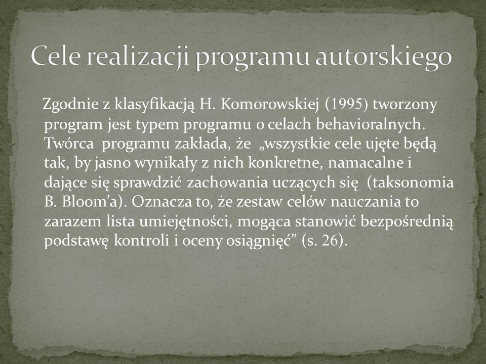 Cele realizacji programu autorskiego