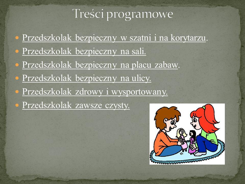 Treści programowe Przedszkolak bezpieczny w szatni i na korytarzu.