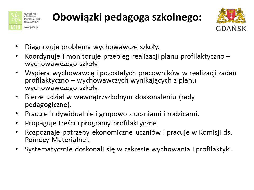 Obowiązki pedagoga szkolnego: