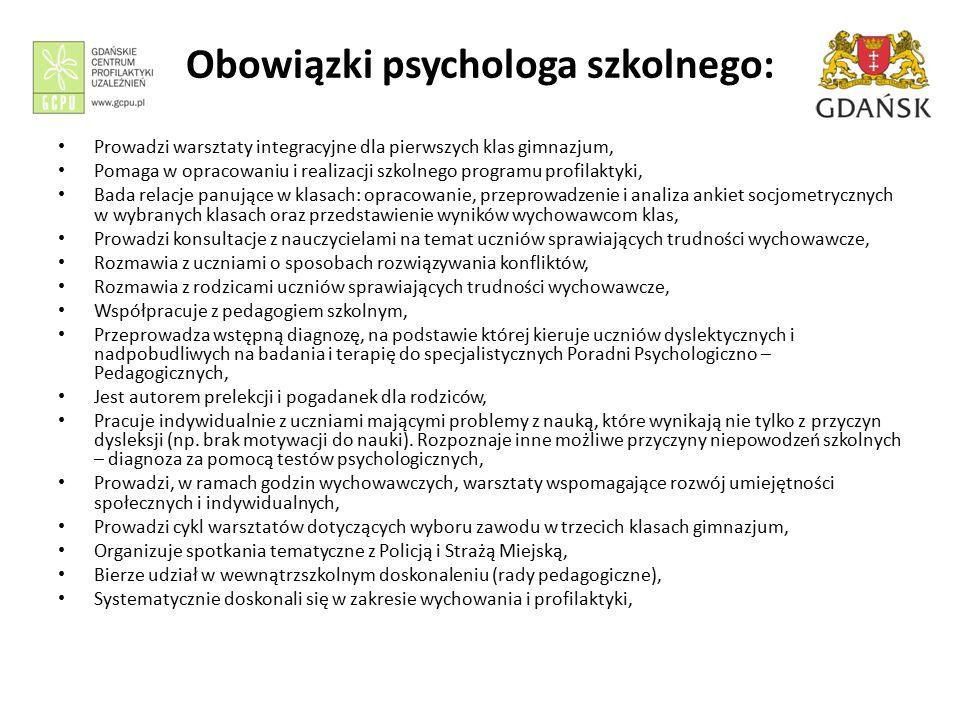 Obowiązki psychologa szkolnego: