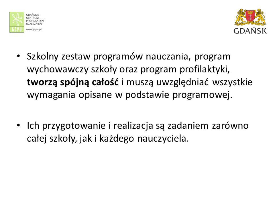 Szkolny zestaw programów nauczania, program wychowawczy szkoły oraz program profilaktyki, tworzą spójną całość i muszą uwzględniać wszystkie wymagania opisane w podstawie programowej.