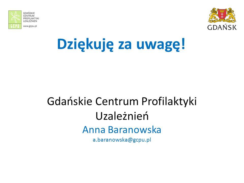 Dziękuję za uwagę! Gdańskie Centrum Profilaktyki Uzależnień Anna Baranowska a.baranowska@gcpu.pl