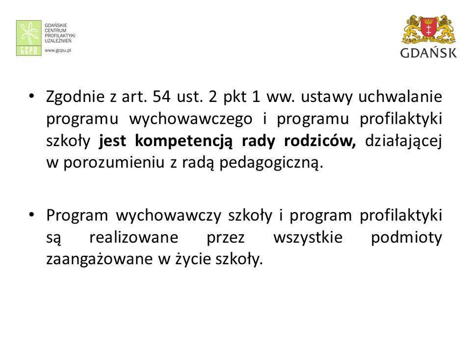 Zgodnie z art. 54 ust. 2 pkt 1 ww. ustawy uchwalanie programu wychowawczego i programu profilaktyki szkoły jest kompetencją rady rodziców, działającej w porozumieniu z radą pedagogiczną.