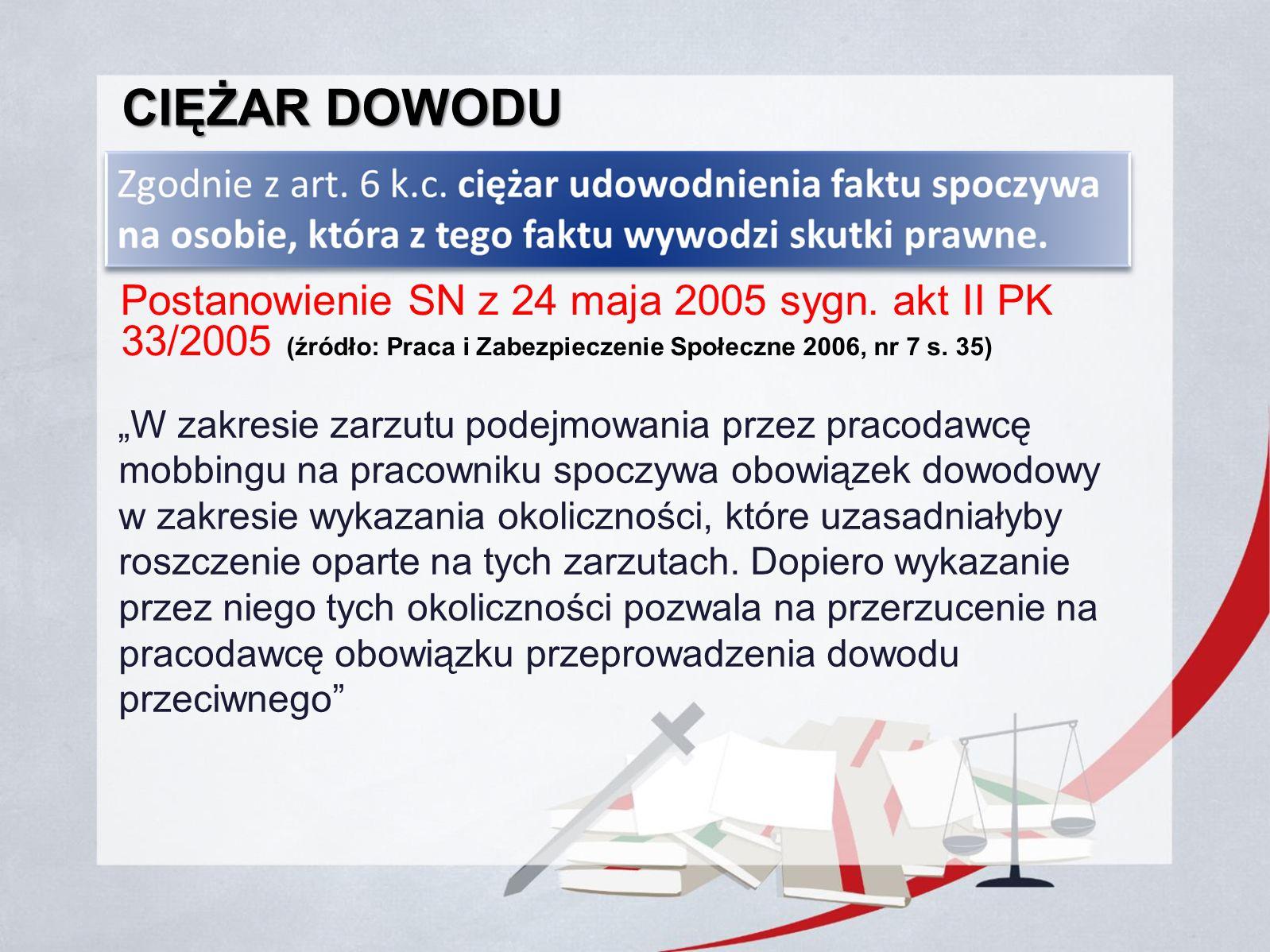 Ciężar dowodu Postanowienie SN z 24 maja 2005 sygn. akt II PK 33/2005 (źródło: Praca i Zabezpieczenie Społeczne 2006, nr 7 s. 35)