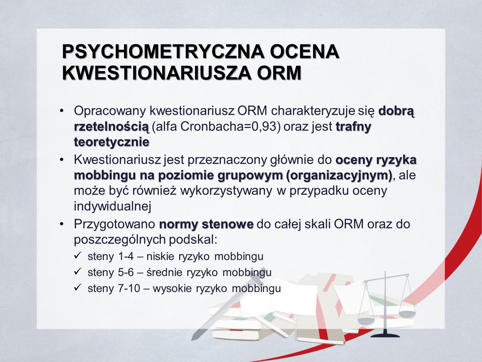 Psychometryczna ocena kwestionariusza ORM