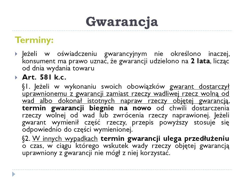Gwarancja Terminy: