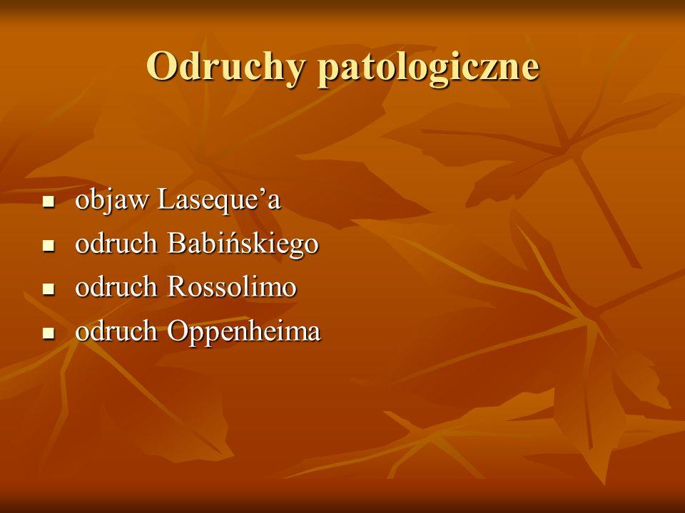 Odruchy patologiczne objaw Laseque'a odruch Babińskiego