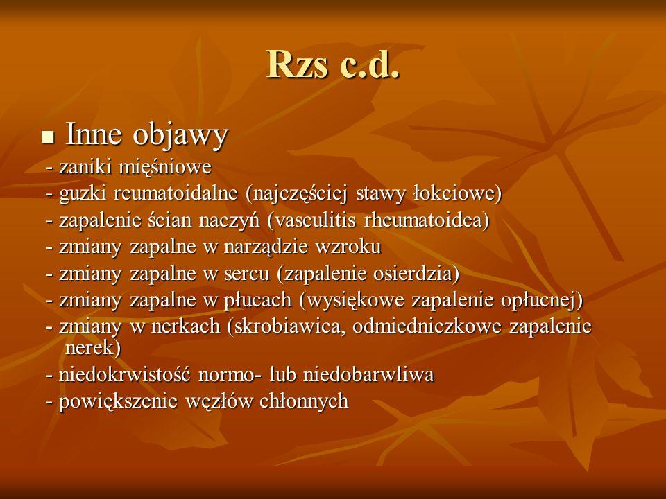 Rzs c.d. Inne objawy - zaniki mięśniowe