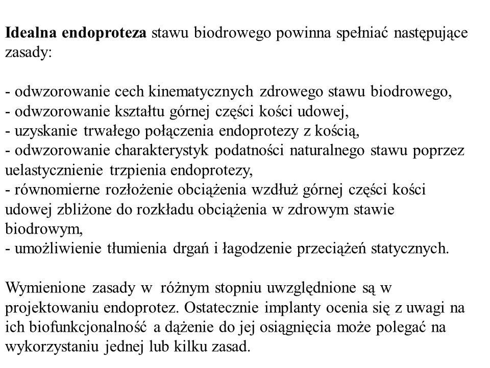 Idealna endoproteza stawu biodrowego powinna spełniać następujące zasady: