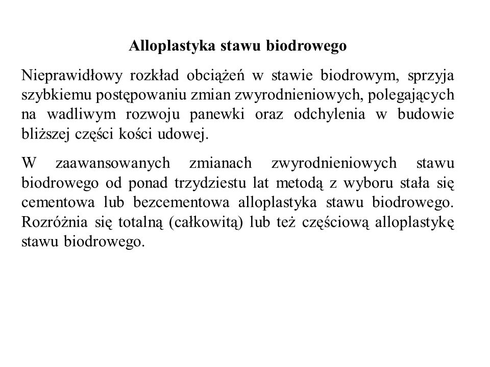 Alloplastyka stawu biodrowego