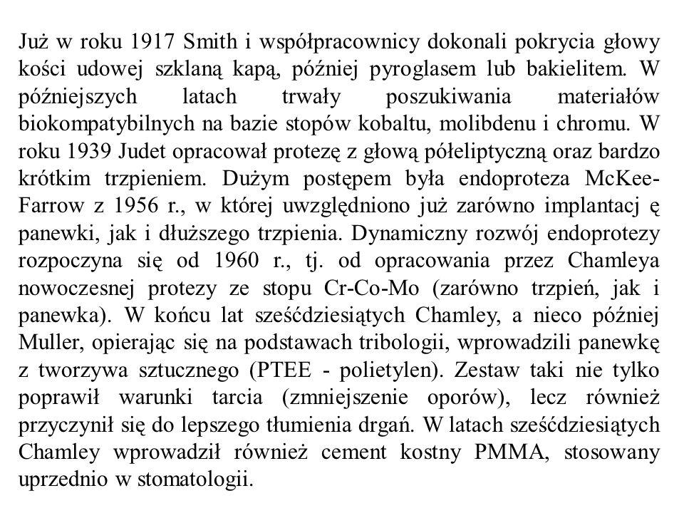 Już w roku 1917 Smith i współpracownicy dokonali pokrycia głowy kości udowej szklaną kapą, później pyroglasem lub bakielitem.