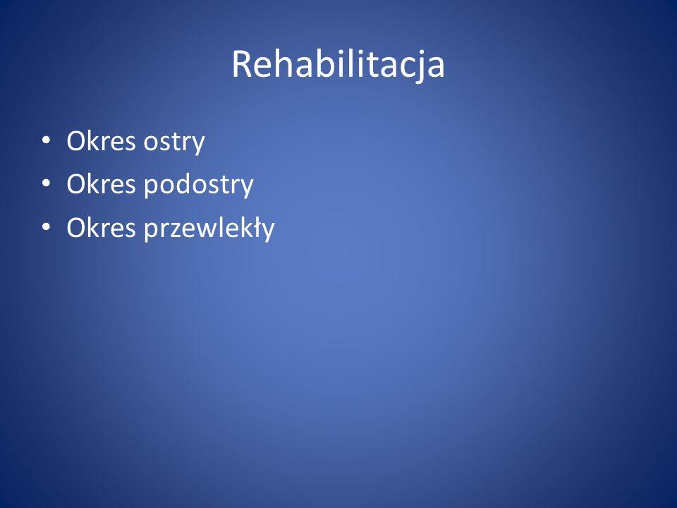 Rehabilitacja Okres ostry Okres podostry Okres przewlekły