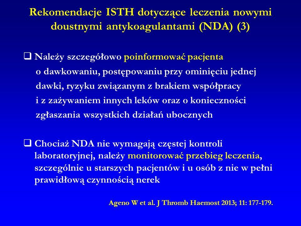 Rekomendacje ISTH dotyczące leczenia nowymi doustnymi antykoagulantami (NDA) (3)