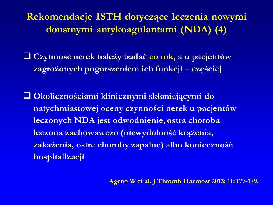 Rekomendacje ISTH dotyczące leczenia nowymi doustnymi antykoagulantami (NDA) (4)
