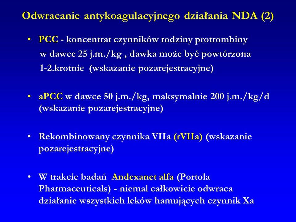 Odwracanie antykoagulacyjnego działania NDA (2)