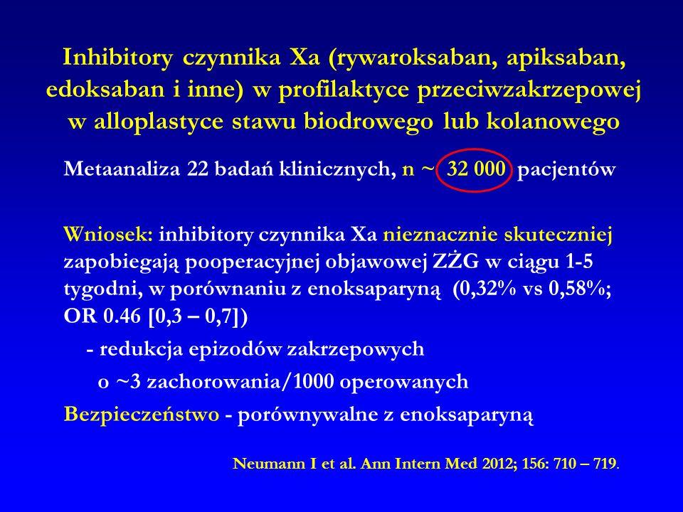Inhibitory czynnika Xa (rywaroksaban, apiksaban, edoksaban i inne) w profilaktyce przeciwzakrzepowej w alloplastyce stawu biodrowego lub kolanowego