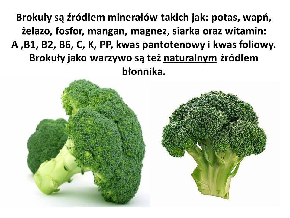 Brokuły są źródłem minerałów takich jak: potas, wapń, żelazo, fosfor, mangan, magnez, siarka oraz witamin: A ,B1, B2, B6, C, K, PP, kwas pantotenowy i kwas foliowy.