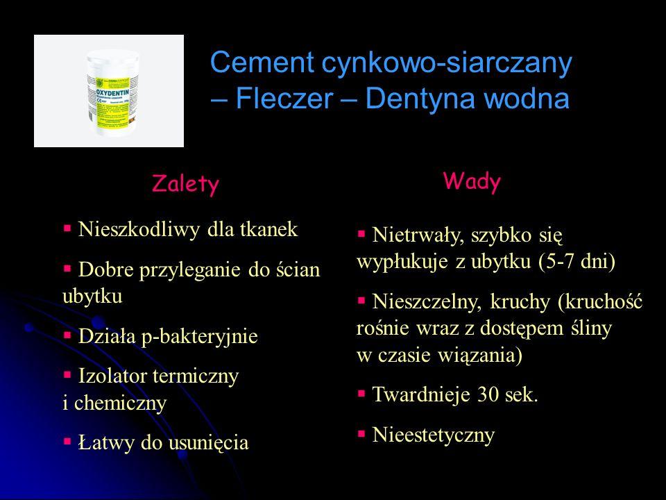 Cement cynkowo-siarczany – Fleczer – Dentyna wodna