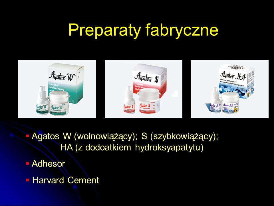 Preparaty fabryczne Agatos W (wolnowiążący); S (szybkowiążący); HA (z dodoatkiem hydroksyapatytu)