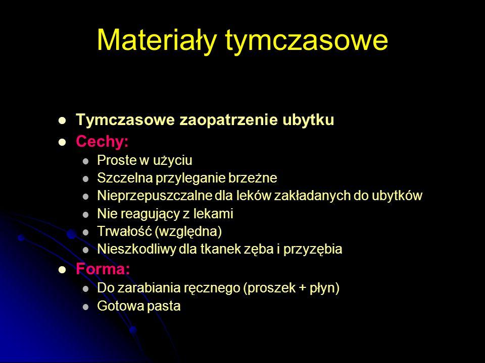 Materiały tymczasowe Tymczasowe zaopatrzenie ubytku Cechy: Forma: